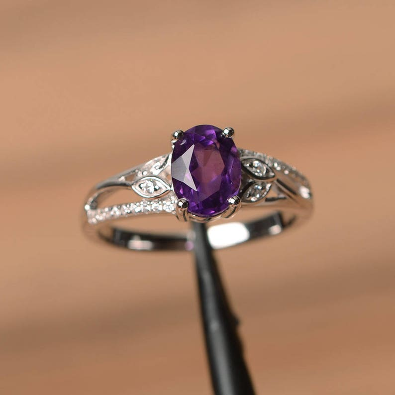 natural amethyst ring promise oval cut gemstone February birthstone purple gems sterling silver ring
