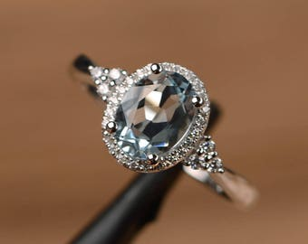 natural aquamarine wedding ring halo engagement ring oval cut sterling silver March birthstone