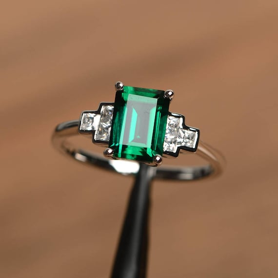 Details about  /925 Sterling Silver Green emerald May birthstone anniversary ring for Unisex