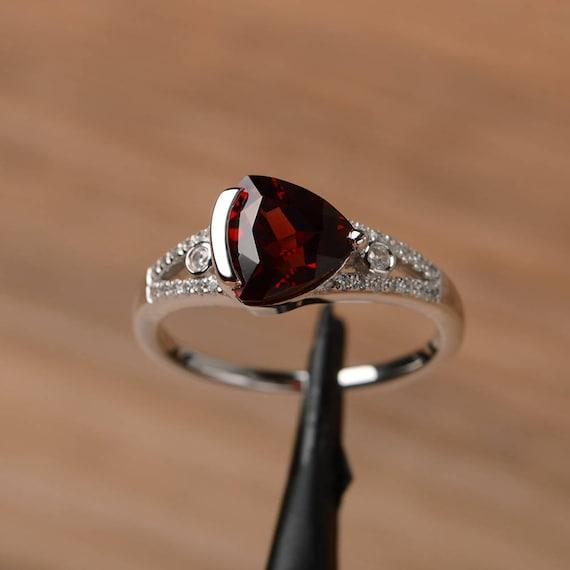 natural garnet ring promise engagement ring triangle cut. Black Bedroom Furniture Sets. Home Design Ideas