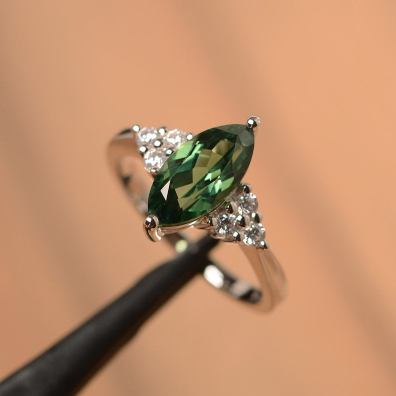 green sapphire ring green marquise cut gemstone ring white gold engagement ring