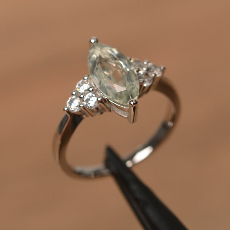genuine natural green amethyst ring marquise cut sterling silver ring green gemstone ring
