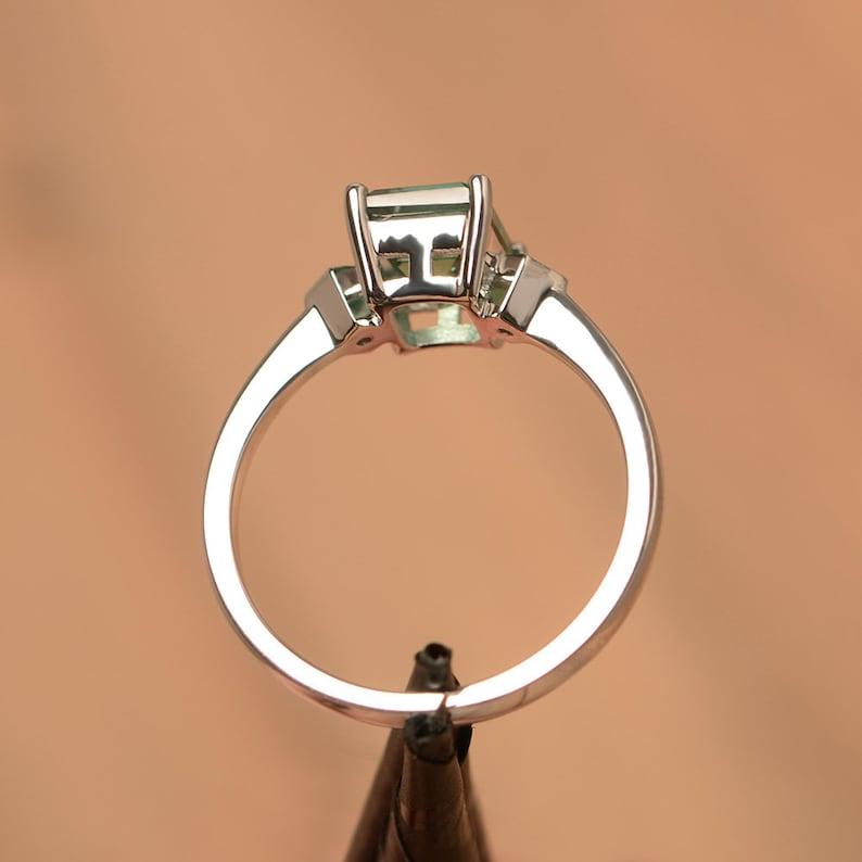 green sapphire ring emerald cut teal gemstone white gold wedding ring