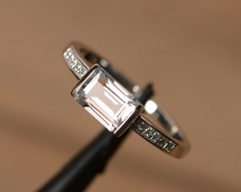 natural white topaz ring emerald cut sterling silver promise ring engagement ring