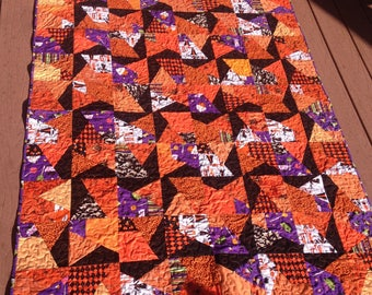 Halloween scrappy lap quilt, handmade