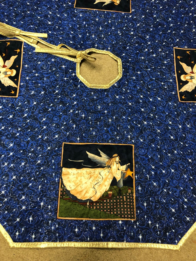 Handmade quilted Christmas tree skirt Angels