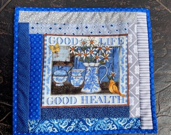 "Handmade miniature quilt, table mat or candle mat,  ""Good Life - Good Health"""