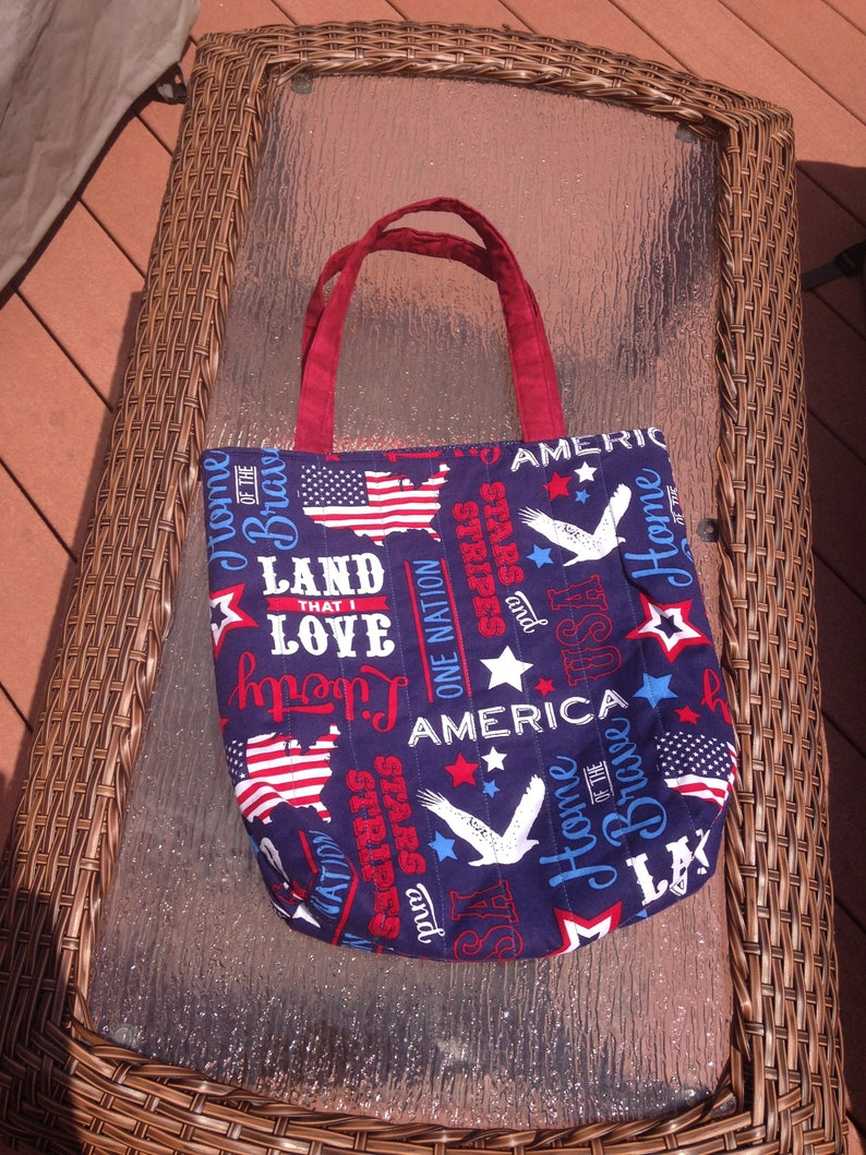 Patriotic tote back handmade quilted