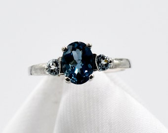 Genuine Gemstones Sapphire 5x2 12mm Marquise With 2mm Genuine Round White Topaz Petite Sterling Silver Ring Blue Sapphire Ring