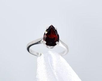 Boho Jewelry Garnet Ring Handmade Ring Gift For Her Pear Shape 925 Sterling Silver Jewelry Garnet Gemstone Ring Silver Ring R 11