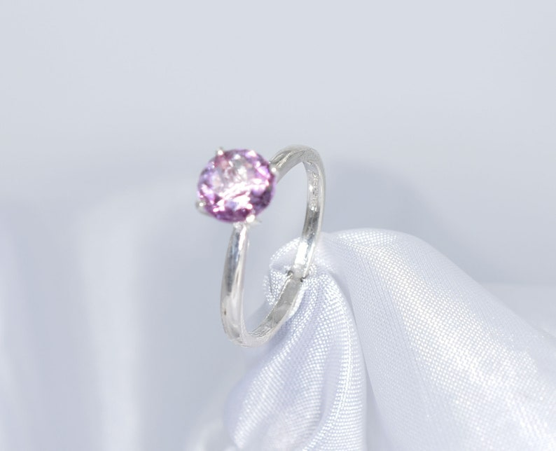Genuine Gemstone 7 mm 1.56 carats Faceted Round Gemstone Set in 925 Sterling Silver Mounting Pink Topaz Ring