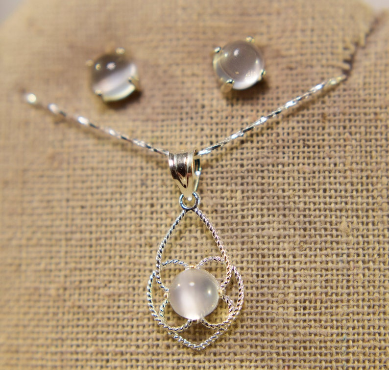6mm Round Cabochon Genuine Gemstones Moonstone Pendant And Earrings Jewelry Set in 925 Sterling Silver 18inch Chain Included