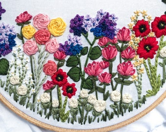 Pre-Printed Fabric Embroidery Pattern // Flower Embroidery, Embroidery Kit, DIY Home Decor, Gifts for Her, Floral Art, Floral Embroidery