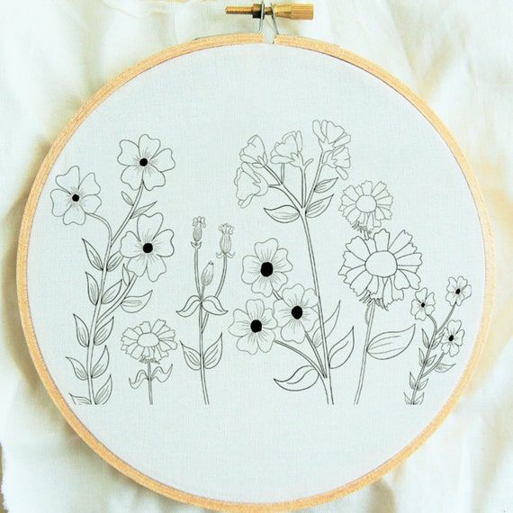 Flower Study Hand Embroidery Pattern Flower Embroidery Hoop Etsy