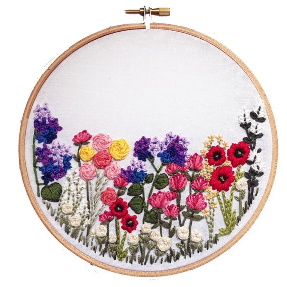 Printable Flower Hand Embroidery Pattern Diy Embroidery Etsy
