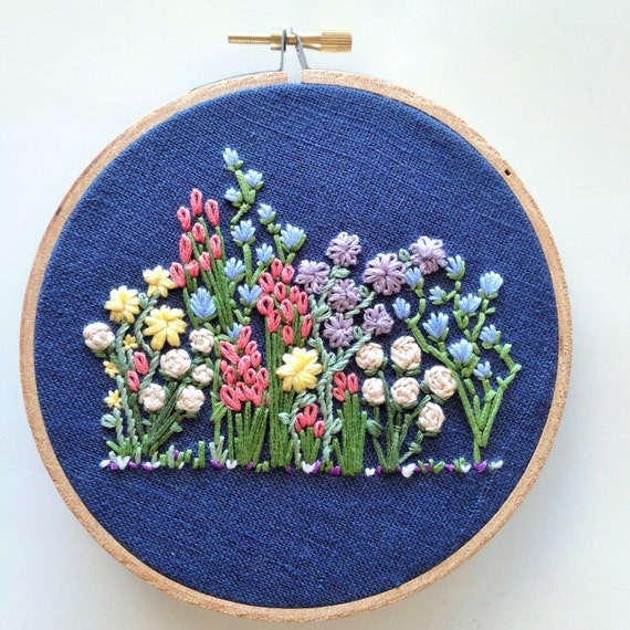 Hand Embroidery Pattern Flower Embroidery Hoop Pattern Etsy