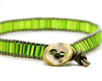 Leather Beaded Wrap Bracelet - Beaded Bracelet - Tube Beads - Handmade