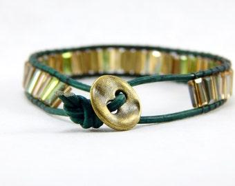 Leather Beaded Wrap Bracelet  - Beaded Bracelet - Faceted Glass beads - Handmade
