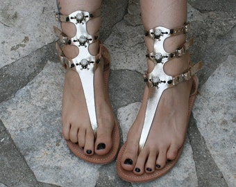 ce6e0cc97b0 women gladiator sandals with skull gold metallic leather thong statement sandals  bridal flat Goth wedding unusual unique statement