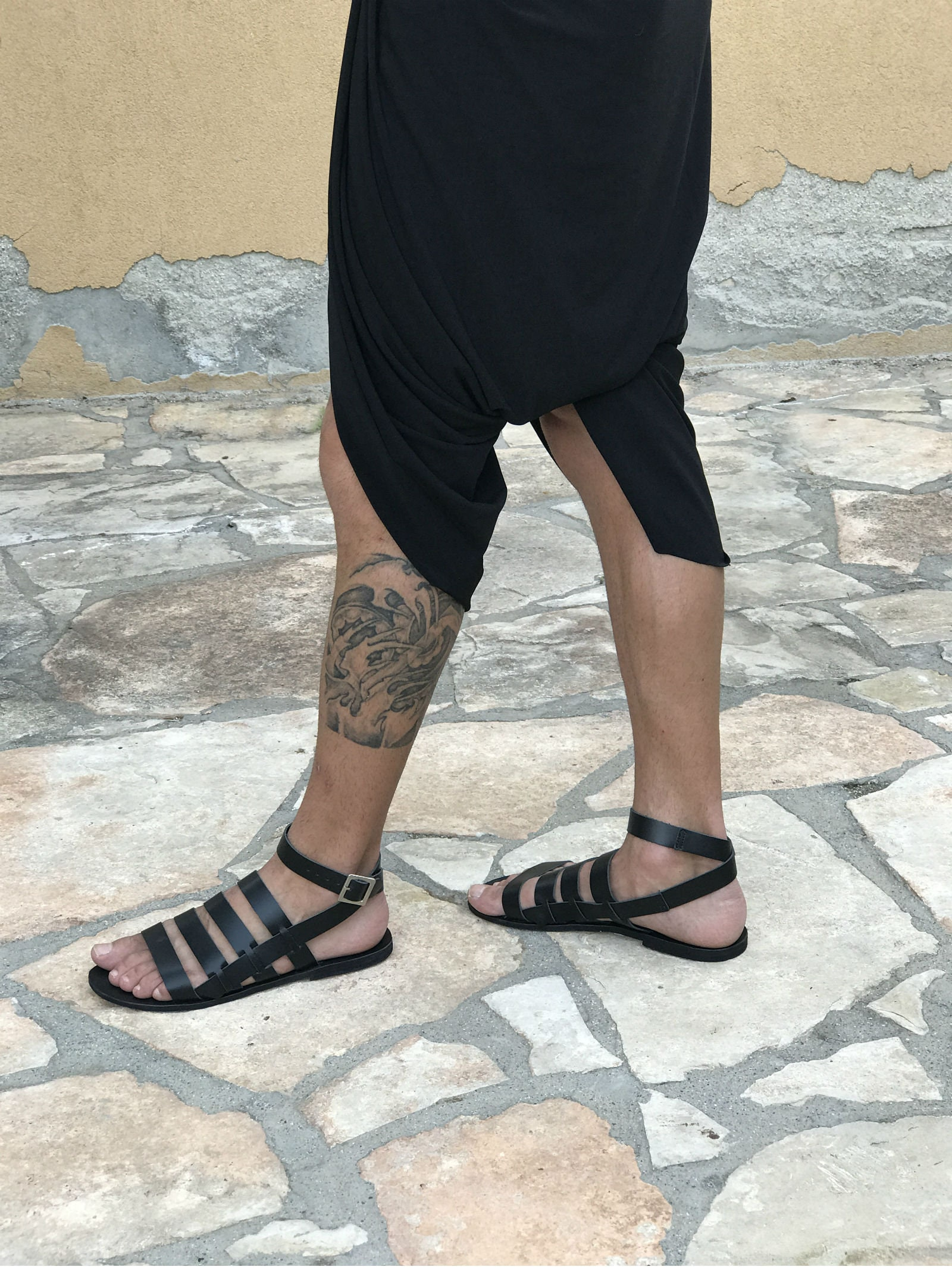 265abad9d030 Mens leather sandals with ankle strap black leather sandals