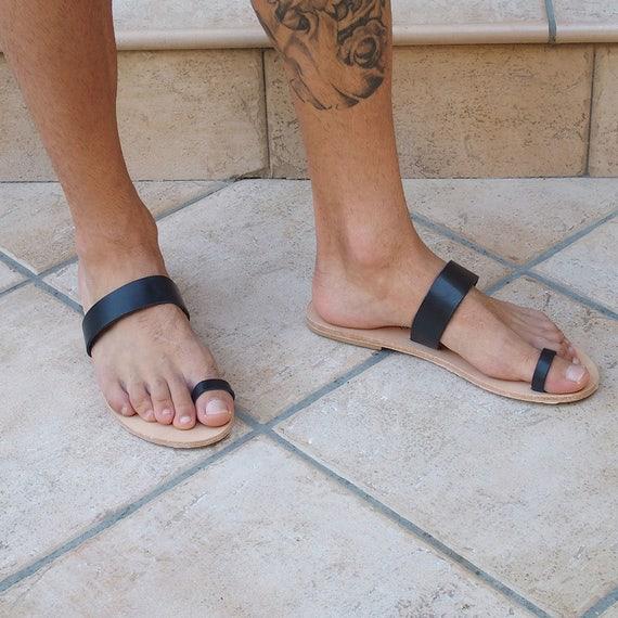 Hommes orteil anneau sandales roman grec noir cuir pieds nus