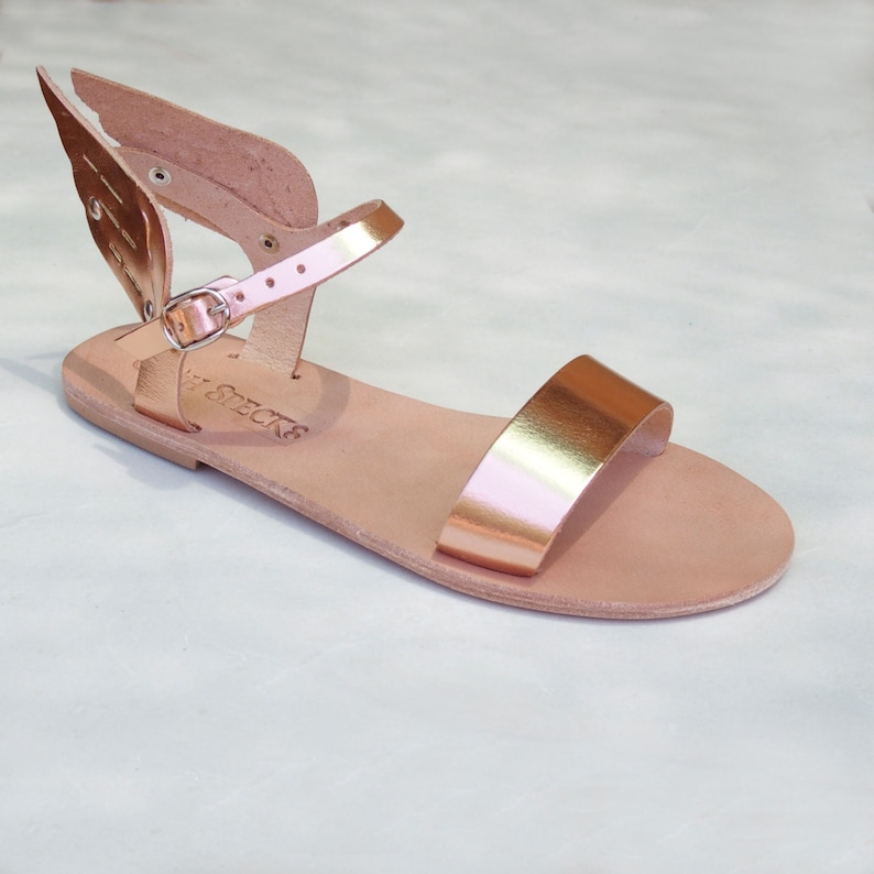 907c35880 Winged leather sandals for women metallic leather wedding