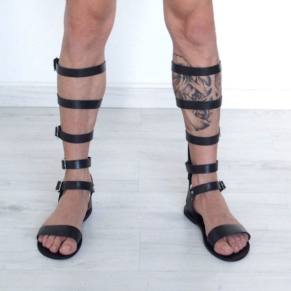 gladiator sandals for men, tall knee length, black leather, square buckle, Roman, Greek, Medieval costume Cosplay unusual unique statement