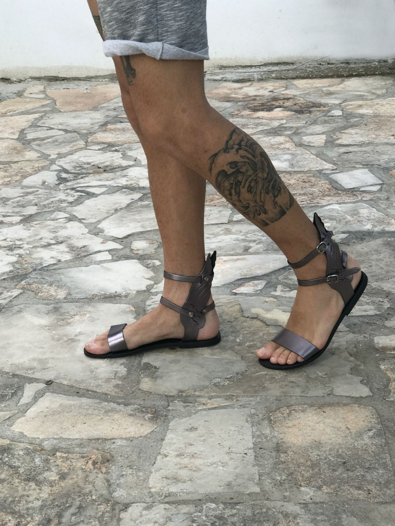 1ab98d252398 Winged leather gladiator sandals for men ankle high summer