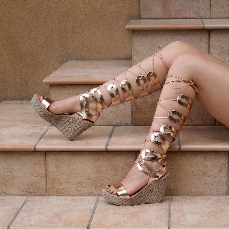 236d10487 Women gladiator wedge sandals knee length Roman Greek metallic