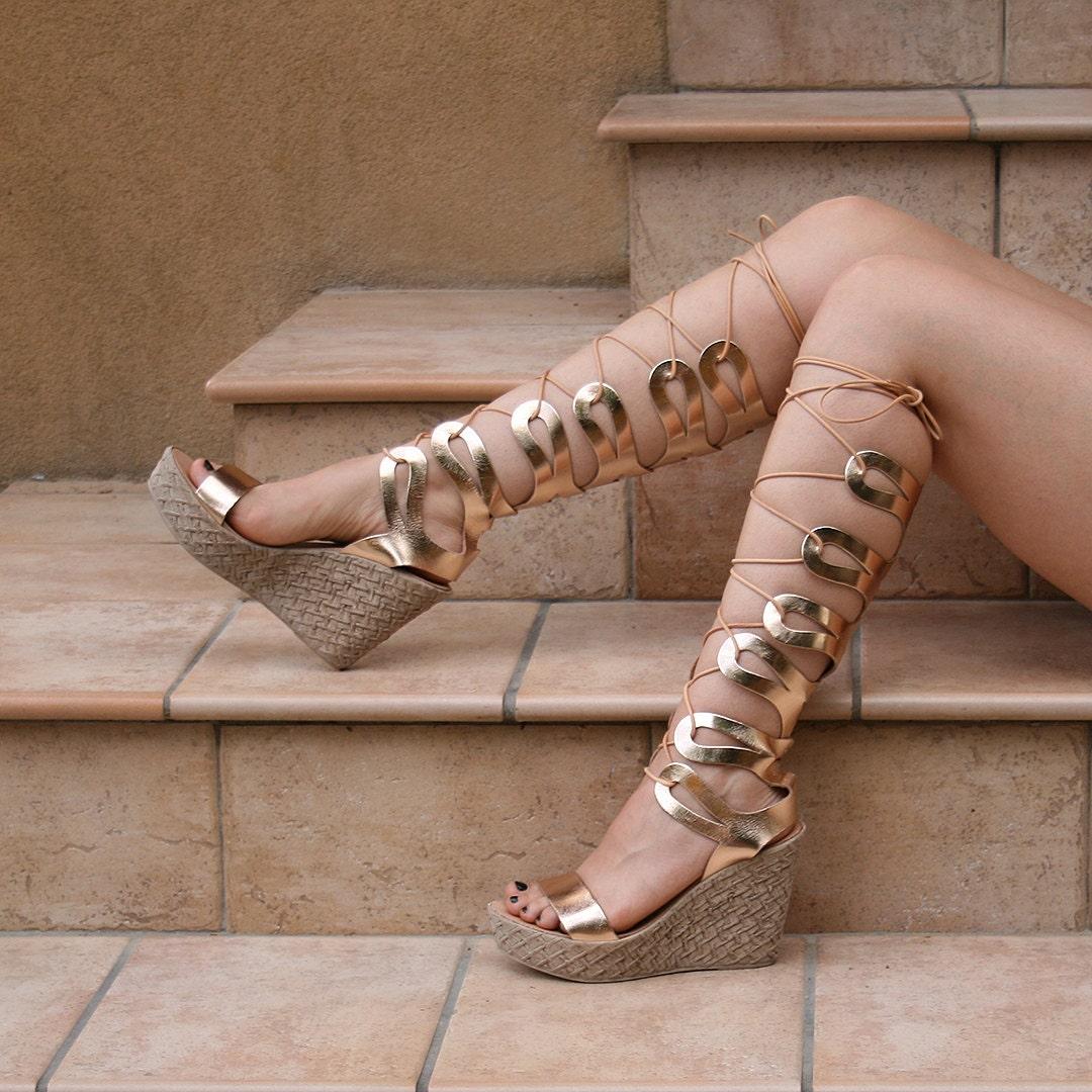 9ef76efbd3f Women gladiator wedge sandals knee length Roman Greek metallic