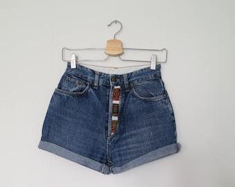 High waisted denim shorts, blue stonewash jean shorts, denim jean shorts, vintage retro cut off rolled cuffed shorts, x small, waist 25.5