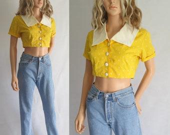 Recadrée à pois blouse chemise, manches courtes, jaune & blanc, large col, français vintage, coton, courte blouse un top petit