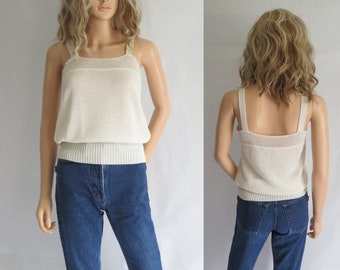 Cream knit top tank, blouse knit top, sleeveless strappy, french retro vintage, loose fit camisole top, small