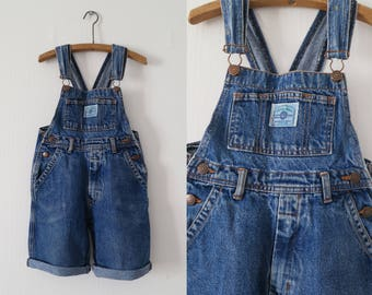 Childs shorts denim dungarees overalls, blue jean, rolled cuffed, high waisted, age 7 8 years