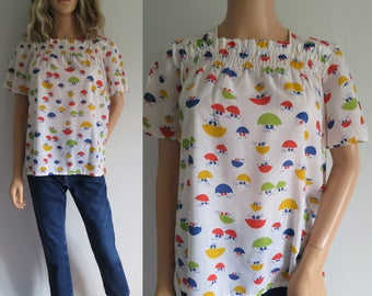 Umbrella blouse shirt t shirt, short sleeves, tunic trapeze loose fit, ruched, rainy day pattern, french vintage retro, teens 16 years