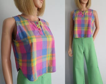 Plaid cotton tank top t shirt, pink blue yellow checked, cotton, cropped, french retro vintage, bright colourful, sleeveless, small medium