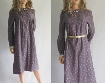 Grey floral tunic dress, long sleeves, french 70s vintage retro, knee length, small medium