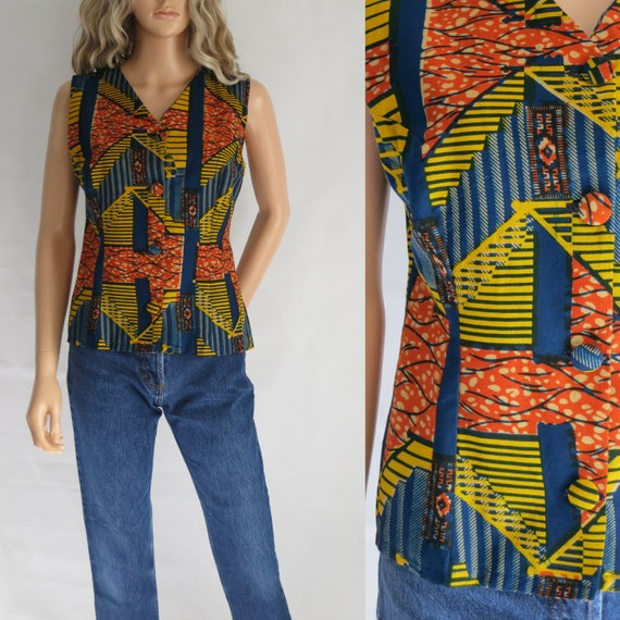 Vintage African Print Top 90s Handmade Tribal Pattern Cotton with Metallic Gold Strapless Mullet Top Womens Size Medium