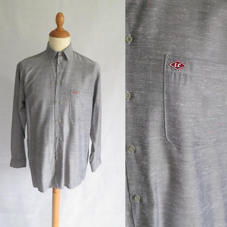 fe67f1b6 Mens grey Lee Cooper shirt long sleeved top 90s vintage | Etsy