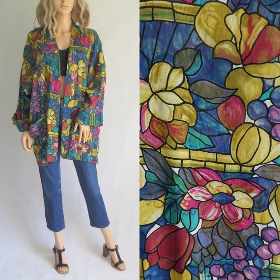 ef0713bf667c56 Colourful oversize blouse shirt top floral   fruit pattern