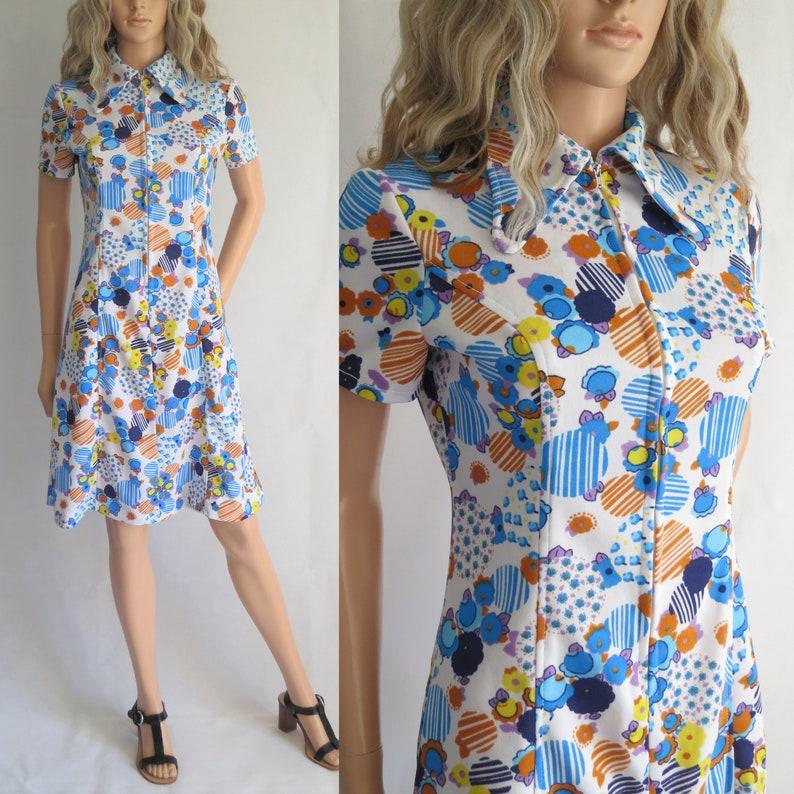 ee1c20512f1d3 Bright patterned shirt dress blue mustard yellow short