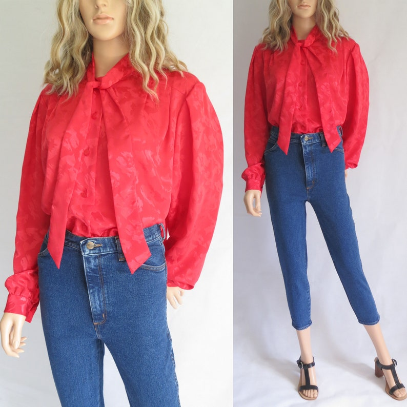 d423cbdb17a1c Red pussy bow tie blouse shirt top french retro vintage