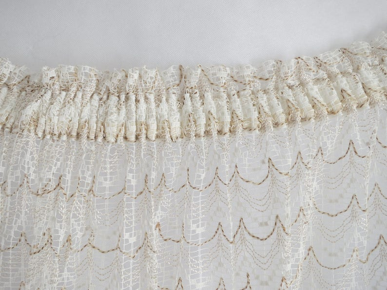 Cream brown wool net curtain french vintage retro width 81 inches white curtain textured woolly length 96 inches