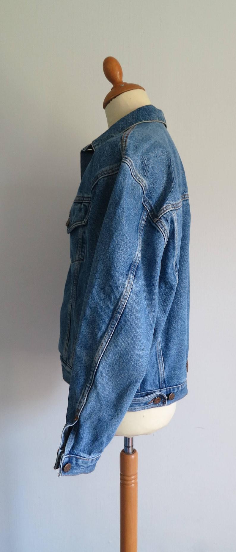 button up French jean jacket coat vintage 80s long sleeve Mens denim jacket large