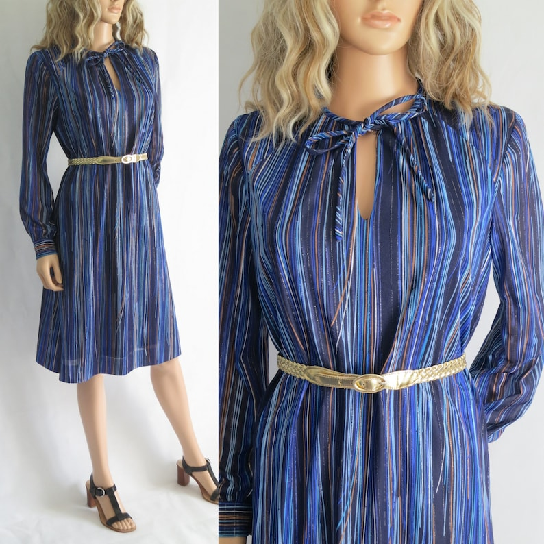 d63df4ed6d28 70s blue stripey dress long sleeve french vintage long | Etsy