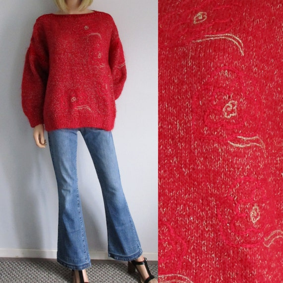 4d92564f3f854a Red sweater jumper pullover oversize baggy red   gold