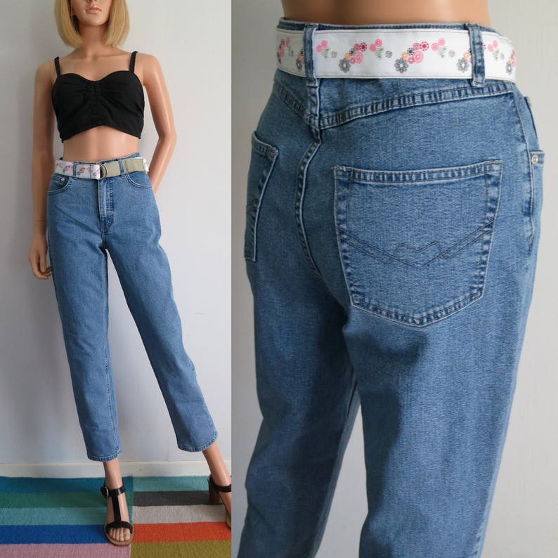 36f41afaa124 High waisted stretch jeans mom pants blue denim 80s vintage