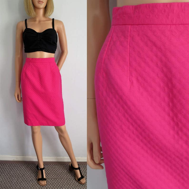 a881b0cdf Pink pencil skirt high waisted knee length french vintage | Etsy