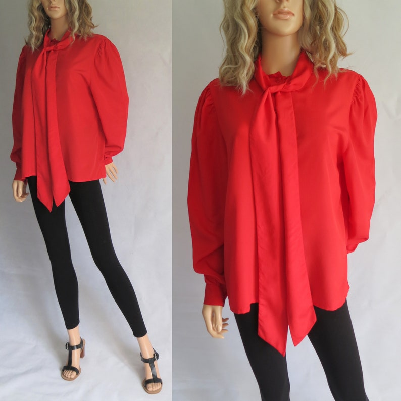 a713dc30abdc8 Red pussy bow tie blouse shirt top french retro vintage long