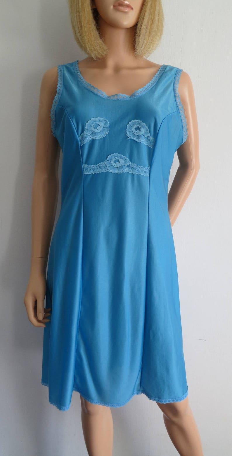 sleeveless pygamas Blue silky night dress french vintage retro sleeping dress knee length